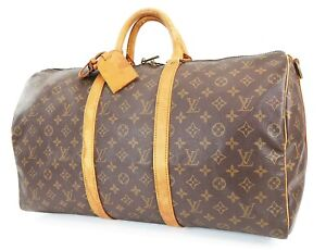 Auth LOUIS VUITTON Keepall Bandouliere 50 Monogram Canvas Duffel Bag #38707
