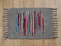 RAG RUGS Recycled COTTON INDIAN BOHO CHINDI Floor Mat GREY COLOUR 36 X 50 CM