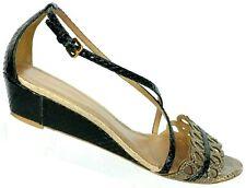 Elie Tahari Women's Black Brown Snake Print Strappy Sandals Size 38.5