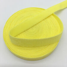 """5yds 3/8"""" Solid Fold Over Elastics Spandex Satin Band Lace Sewing Trim Yellow"""