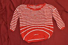 XS Juicy Couture Red and white striped sweater 3/4 sleeve asymmetrical hem AGAE