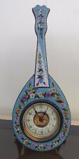 Top Rare Antique Micro Mosaic Italian Clock Porcelain Dial Guitar Object Vitrine