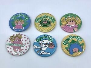 Set of 6 Vintage Cabbage Patch Kids Badges Pins Buttons New Old Stock 1983