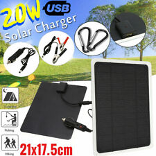 20W Camping Solar Panel USB Phone Charge Battery Charger Kit Marine Boat RV Car