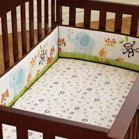 4Pcs Baby Infant Cot Crib Bumper Safety Protector Toddler Nursery Bedding Set !