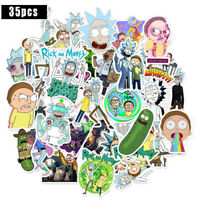 35 Pcs Rick And Morty Stickers Skateboard Vinyl Bomb Decals Laptop Luggage