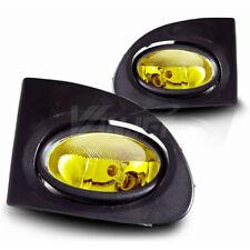 For 2002-2005 Honda Civic Si Hatchback Yellow Lens Chrome Housing Fog Light Lamp