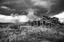 Country Photography Print - Black and White Picture of Abandoned House in Kansas