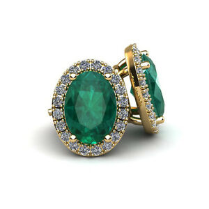 14K GOLD 1 CARAT OVAL EMERALD AND HALO DIAMOND STUD EARRINGS - IN 3 GOLD COLORS