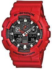 Casio G Shock Mens World Time Ana-Digi Red Watch GA-100B-4AER