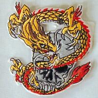 DRAGON W SKULL HEAD EMBROIDERED PATCH P195 iron on sew CLOTH JACKET patches NEW