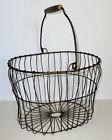 Egg Wire Basket Farmhouse Display Metal Wooden Handle Handmade Vintage