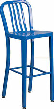 MID-CENTURY BLUE 'NAVY' STYLE BAR STOOL CAFE PATIO CHAIR IN-OUTDOOR COMMERCIAL