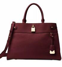 New Michael Kors Gramercy polished leather satchel oxblood gold tote Bag