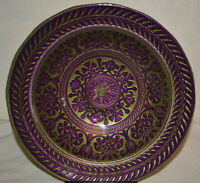 Gorgeous Turkish Art Glass Centerpiece Serving Platter Bowl Purple Gold