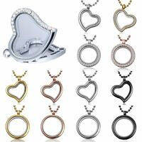 Fashion Living Memory Floating Charm Glass Round Heart Locket Pendant Necklace
