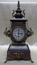 Ornate Antique European Style Marble Clock w. Nice Lion & Floral/ Leaf Designs