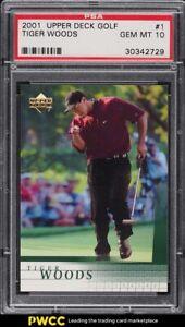 2001 Upper Deck Golf Tiger Woods ROOKIE RC #1 PSA 10 GEM MINT