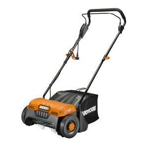 """WORX WG850 12 Amp 14"""" Electric Dethatcher with collection bag Certified Refurb"""