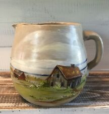 """Vintage Hand Painted Homestead Scene Stoneware Pottery Pitcher 7"""" Tall"""