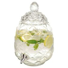 6l Pineapple Beverage Dispenser Glass Jar Tap Juice Drinks Cocktails Outdoor