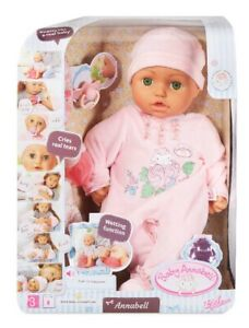 """Baby Annabell Doll By Zapf 18"""" Makes Sounds 5 Accessories  Ages 3+ Green Eyes"""