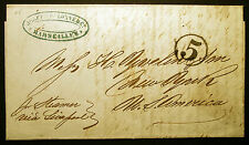 Stampless Ship Entire Date April 7th, 1851 Marseilles-Liverpool-New York