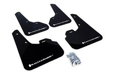 Rally Armor Mud Flaps Guards for 10-13 Mazda3 Mazdaspeed 3 (Black w/White Logo)
