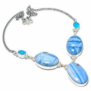 """Owyhee Opal, Chalcedony Gemstone Ethnic Handmade Jewelry Necklace 18"""" RL-13673"""