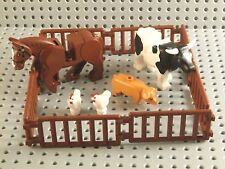 LEGO FARM ANIMALS SET ~ Minifigure Cow Horse Chickens Pig Fence Corral ** NEW **