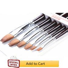 Flat Kolinsky Sable Hair Art Brush 6pcs Oil Acrylic Watercolor Paint Art Brush
