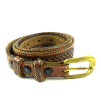 Womens 40 Tooled Top Grain Leather Western Belt Embellished Genuine Brass Buckle