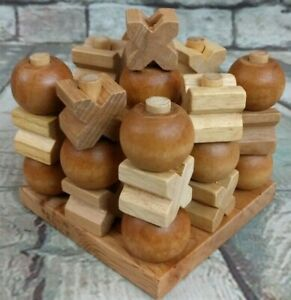 """3D Wooden 4"""" x 4"""" ~ Tic Tac Toe Game Brain Teaser for One to Two Players"""