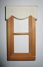 "5 1//2 /"" W x 1 1//4 /"" L Burgundy Jacobean Valance Dollhouse Double Curtains"