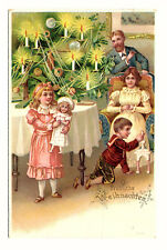 um 1900 CL Fröhliche Weihnachten, Familie mit Weihnachtsbaum, ohne Verlag ungel.