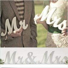 New Mr and Mrs White Letters Sign Wooden Standing Top Table Wedding Decoration