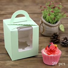 LARGE Cream Cupcake Boxes muffin,wedding favour with heart lid box PACK x 12