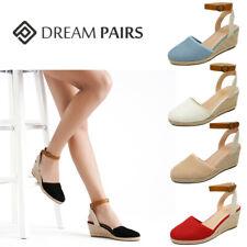 DREAM PAIRS Women Ankle Strap Shoes Close Toe Espadrilles Platform Wedge Sandals