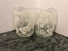 2 Vintage Georges Briard White Butterfly Cocktail Whiskey Bar Glasses Super Sexy