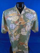 Kahala Yvonne Sea Shells Coral Star Fish Sea Green Silk Shirt L Large