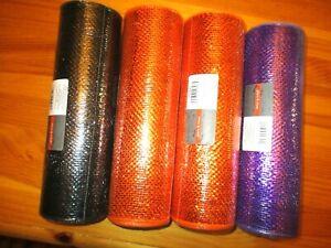 "Place & Time HALLOWEEN Deco Mesh Orange Purple Black 10"" X30' Lot of 4 NEW"