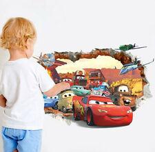 Disney 3D Pixar Cars Lightning McQueen Mater Nursery Kids Room Rock Wall Sticker