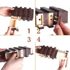 Black Vintage Wooden Magic Secret Box Puzzle Drawer Brain Teaser Funny Kids`Toy