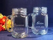 2 Personalized Glass Mason Jar Drinking  Mugs 16 ounce