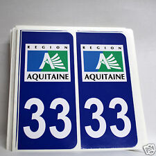 10 STICKERS AUTOCOLLANT PLAQUE D IMMATRICULATION de la Gironde (33)