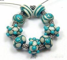 ROA Lampwork 9 Turquoise & Ivory Designer 7 x 11 mm Glass Art Beads USA SRA