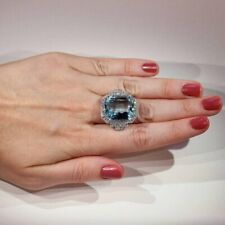 Vintage Handcrafted Around 1950s Look & Rectangular Light Blue Aquamarine Ring