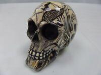 Wooden Decorated Black White Small Skull Statue Decoration Gothic Figure BIKER
