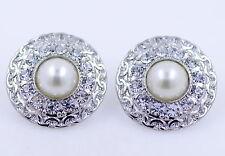 orecchini tono cerchio piastra perno 2,5 centimetri d'argento con perle e crista