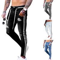 Herren Ripped Skinny Biker Jeans Destroyed Slim Denim Stretch Hose Röhrenjeans